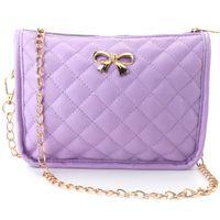 Wholesale New Bowknot Decor Shoulder Bag Messenger Chain Rhombus Style Crossbody Bags Women Handbag Satchels Plaid Flap Multi colors