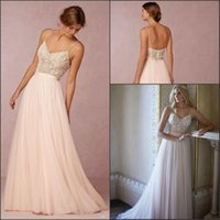 Wholesale 2016 New Sexy Spaghetti Straps Tulle A Line Wedding Dresses Beaded Top Summer Beach Floor Length Wedding Bridal Gown BA1911