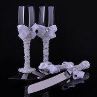 Wholesale Set of Personalized Satin White Bows with Rahinestone Wedding Cake knife Server Set Wedding Champagne Wine Glass