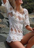 beach cove - Summer Latest Beach Hollow out Lace Bikini Dress Hot Sale Crew Neck Half Sleeve Fashion Bikini Blouse Cheap Swimwear Cove ups