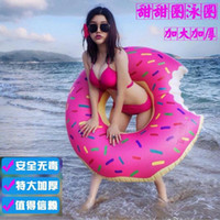 Wholesale 60 cm Inflatable Toys Strawberry Donut Pool Floats Inflatable Donut Swim Ring Inflatable Floats Pool Toys Swimming Float Adult swim ring