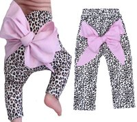 Wholesale Retail Baby Girls Leopard Pants Geometric Printed Kids Leggings With Big Bow Brand Baby Clothes Children Harem Pants For Girls Clothing