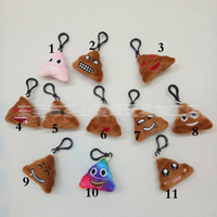 Wholesale New style Emoji toys for Kids Emoji brown pooh Keychains Mixed Emoji Keyrings Bag pendant cm E983