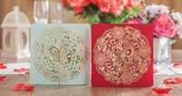 Wholesale 2016 Elegant Wedding invitations Sweet Hollow out flowers wedding cards personalized invitations Free design