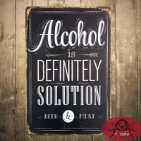 alcohol solutions - quot Alcohol is Definitely Solution quot Beer Poster Bedroom Pub Home Decor Craft Wall Painting