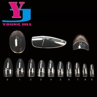 Wholesale Oval Rounded Acrylic Artificial False Nail Tips Half Cover Fake Nail Art Tips Manicure Set Nails Beauty Products