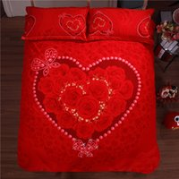 adult hearing - YADIDI Red Rose Bedding Set Cotton Loving Hear Flower Floral Cartoon White Girl D Bedclothes Queen King Size