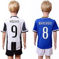 Wholesale 2017 Kids Kit Juve Football Jersey Juventu Home White Away Blue Boy Soccer Jersey Higuain Dybala Zaza Bonucci Child Soccer Shirts