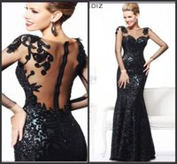 art deco necklaces - Sexy Long Sleeve Black Mermaid Evening Dress For Women Formal Gown with Backless and Lace Details Gift necklace