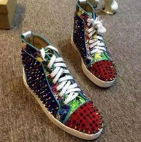 Wholesale 2016 men sneakers Suede With Spikes stud High Top Red Bottom Causal Shoes Fashion Lovers Luxury Designer Flat Shoes
