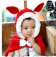 Wholesale 2015 new cute rabbit baby winter hat children knitted capes hats sets colors