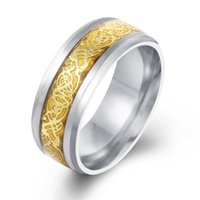 Wholesale Fashion AccessoriesTwo Colors Golden And Sliver Great Wall Men Male Ring Stainless Steel Wedding Rings for Men Wide Rings JewelryRG045