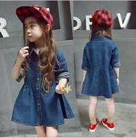 bee jeans - dresses fashion baby jacket Autumn Girls Jeans Dress Coat Kids Bee Embroidery Long Sleeve Children Denim Dress Coats baby clothes