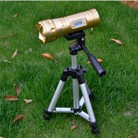 Wholesale 6pcs l10W Zoom Blue White Yellow Light Source CREE Q5 LED Night Fishing Lamp Finshlight with Power Display Tripod Flash light