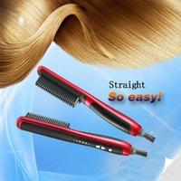 als digital - ALS Hair Straightener Rotatable Power Line Button Control Straight Hair Comb KD Straightener Iron Brush US UK EU Plug OM CH6