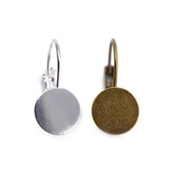 base plates - Silver Plated Glass Cabochons Brass Base Pad French Lever Back Earrings Blank For DIY High Quality Earring