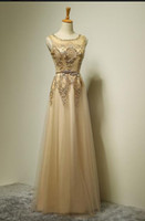 Wholesale Gold Sequined Mermaid Prom Dress Long Sexy See Through Evening Dress Dazzling Crystal Formal Party Gowns Real Pics