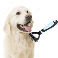 Wholesale Dog Comb Rake With Side Mat Brush of Hair Pet Clipper Grooming for Dogs Cats Stainless Steel Rakes for Shedding Blue Pink A