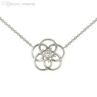 bezel set cz necklace - Sterling Silver Bezel Set Center Round Cut CZ w Floral Design Necklace Pendant