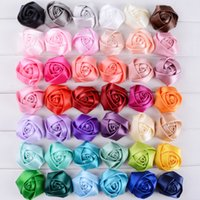barrettes for crafts - Ribbon Rolled Fabric Rose Hair Flower Center For Baby Girls Hair Accessories Hand Craft DIY cm colors cheer bows