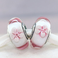 Cheap 5pcs 925 Sterling Silver Loose Bead Cherry Blossom Murano Glass Charm Bead Fit European Jewelry Bracelet Necklaces & Pendants