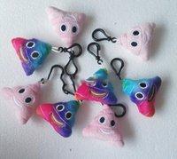 Wholesale New fashion cm Poop Emoji Smiley keychains cute cartoon plush pendant car key chain styles