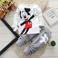 aa winter - Hug Me Girls Boys Baby Cothes Kids Suit Mickey Top Pants set Kids clothes New Autumn Winter palm pattern Pants AA