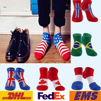 Wholesale DHL New Flag Pattern Ankle Socks Elastic Men Sport Athletic Basketball Casual Soft Cotton Low Cut Boat Socks Style WX S09