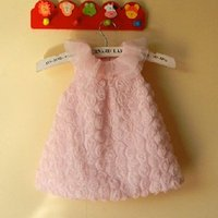 Wholesale 0 Y newborn vestido de bebe dress for baby girl princess lace dress pink lace rose flower dress Christening gown birthday party free ship