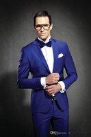 best girdles - Newest Slim Fit Groom Tuxedos Royal Blue Best man Suit Notch Lapel Groomsman Men Wedding Suits Bridegroom Jacket Pants Tie Girdle