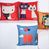 animations cotton cover - 45cm cm Animation cartoon linen and cotton pillow cover sofa pillow case car seat cushion cover decorative pilllow