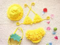 Two-piece Girl Children's Day Korean Baby Girl Bikini Kids Girls Swimwear Baby Swimsuit Ruffle Bow Princess Two Pieces Swim Cute Clothings & Hat KK