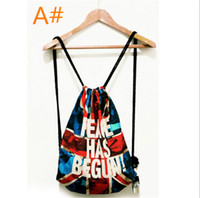 beaming baby wholesale - Backpack Retro street Fashion For Men and Women baby drawstring Bag Printing Rope Beam Port Package Harajuku style Printing handbags
