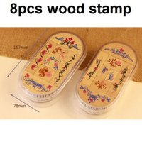 Wholesale 8pcs creative DIY stationery and scrapbooking use wooden vintage classic retro lace flower decoration stamp set