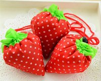Wholesale 50pcs Nylon Portable Creative Strawberry Foldable bag gift shopping Reusable Environmental Protection Pouch Eco Friendly Shopping Bags D940
