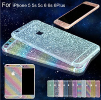 Wholesale Phone Sticker Full Body skin cover Glitter Bling Sticker Matte Screen Protector For iPhone S plus s Galaxy S7 edge s6 s5 s4 Note