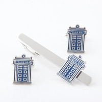 Wholesale New Arrival Cuff Link and Tie Clip Sets Men s Jewelry Doctor Who Blue Police Box Metal Cuff Link and Tie Clip Set Movie Jewelry