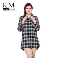 big check shirt - kissmilk Plus Size New Fashion Women Check Print Button Down Long Sleeve Big Size Turn down Collar Shirt Dress XL XL XL XL