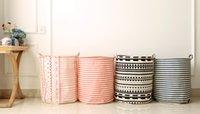 Wholesale INIZIO Zakka Style Cotton and Linen Household Storage Box Laundry Classification Basket Fold Bin Stripe Printed