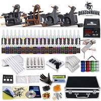 venda por atacado tattoo gun kits-Tattoo Kit 4 Top Gun 40 Cor Tinta Ink Power Supply agulha completa D139GD-11