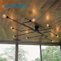 Wholesale Retro industrial loft Nordic pipe Wrought iron ceiling light lustre lamps for home decor restaurant dinning cafe bar room