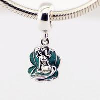 achat en gros de ariel breloque en argent-100% 925 Sterling Silver Sorcerer Dangle charme perle Ariel dans une coquille Pandora Style européen collier Serpent chaîne Bracelets Colliers