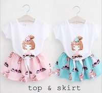 Girl little girls clothing - Korean Girls flower Dress Child Clothes Kids Summer Short Sleeve T Shirt Kid little Girls print Skirts Children Set Kids Suit Outfits