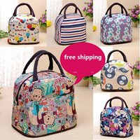 Wholesale Lady Lovely Printing Nylon handbag lady Cosmetics bag Travel Outdoor Storage Bag Makeup Pouch Handbag Lunch Picnic bag patterns in stock