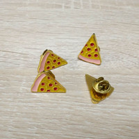 anniversary shop - wholesales fancy three colors enamal filled pizza badge shiny gold metal pizza pin badge for pizza shop sale promotion