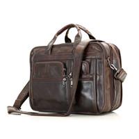 Wholesale Mens Handmade Genuine Business Leather Bag Large quot Laptop MacbookPro Bag Coffee Color