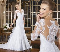 Wholesale Hot Sexy Modest Full Lace Mermaid Wedding Dresses Illusion Long Sleeve Bride Dresses Button Back Bridal Vestido De Noiva Court Train