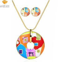 Wholesale 2016 Summer Style Enamel Jewelry Sets Gold Plated Vintage Colorful Zinc Alloy For Women Girl Necklace Pendant Stud Earrings T064