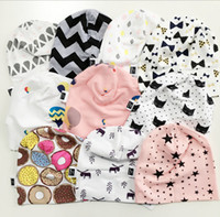 Wholesale Baby INS Boys Girls Beanie Hat Toddler Infant Newborn Geometric Pattern Comfy Hat Cap Hospital Cap Spring Warm Cotton Bonnet Cap