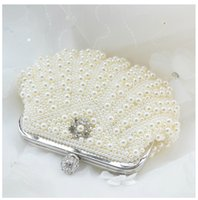 beaded handbag handles - Elegant Pearl Evening Clutches Bridal Hand Bags Beige White Beads Handbags Women Crystal Shell Shape Hand Bags Whoolesale Bridesmaid Bags